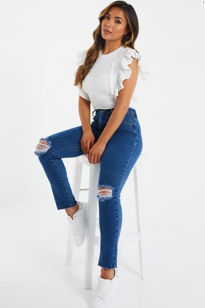 Petite Blue Denim Ripped Mom Jeans